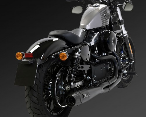 Harley Davidson® Sportster with full black Mohican Exhaust with carbon end cap