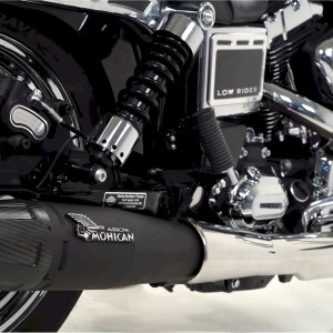 Mohican Exhaust for Harley Davidson® black silencer with original collectors cover
