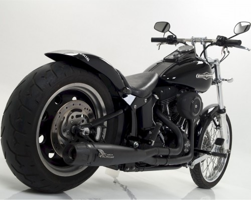 Harley Davidson® Softail with black full Mohican Exhaust system and carbon end cap