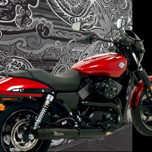 Harley Davidson®Street 750 with black 2:1 full Mohican Exhaust system and carbon end cap