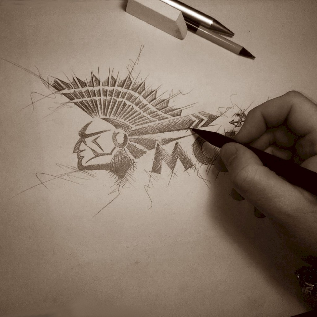 Mohican logo pencil sketch