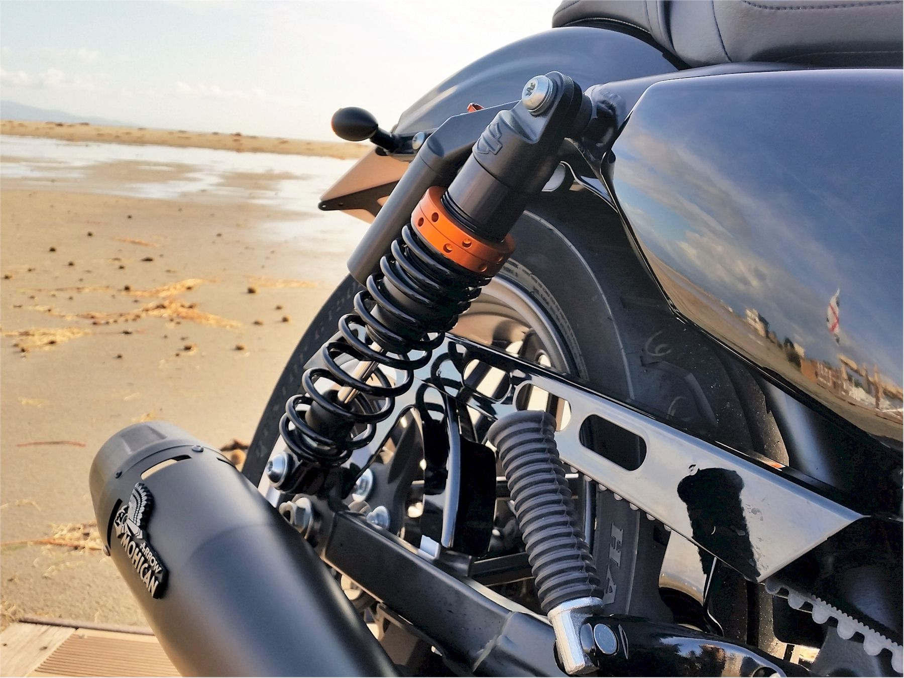 Harley Davidson® with black Mohican Exhaust and carbon end cap