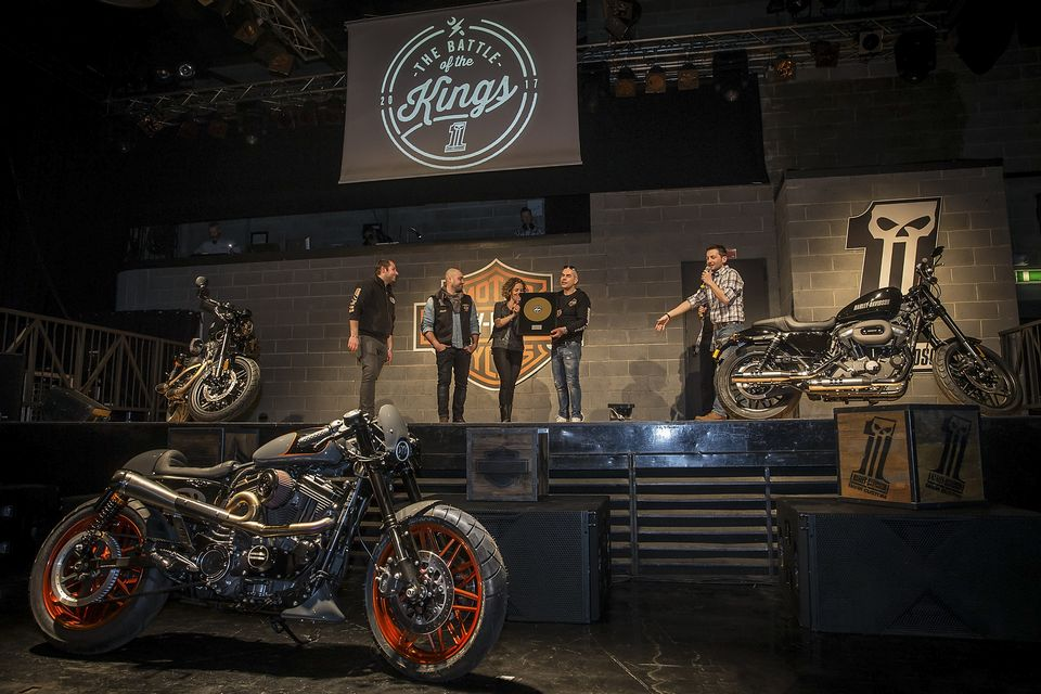 Special Harley Davidson® 883 with dedicated Mohican Exhaust Full system. Owner in background receiving the prize
