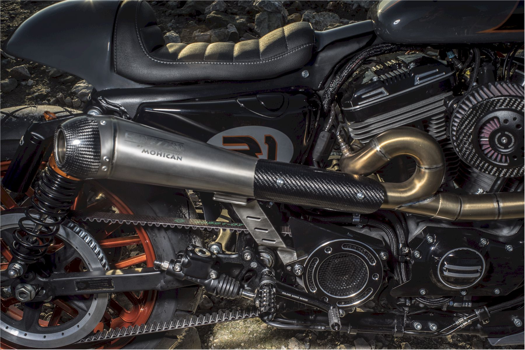 Harley Davidson® special hand made Mohican exhaust with carbon fiber